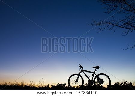 Silhouette of MTB bike at sunset under tree on blue sky with venus planet poster