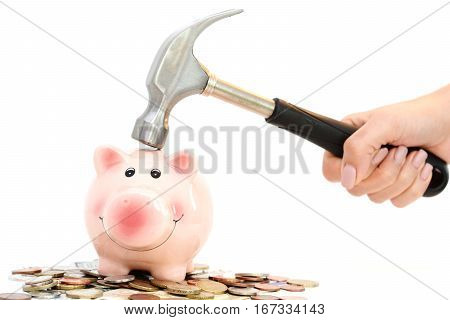 Piggy bank crashed or braked by hammer on money pile suggesting financial crisis