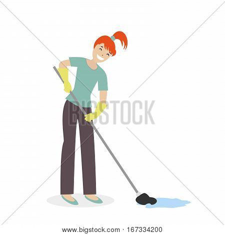 Cleaning woman or a housewife washing mop floors. Clean the house. Illustration in cartoon style isolated on white background. Vector, flat EPS10