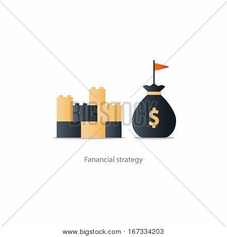 Budget fund planning, financial investment strategy, bank savings account, business solutions concept,  money insurance, capital building, vector illustration