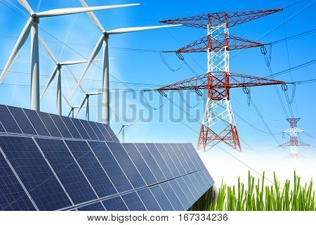 Renewable energy concept with grid connections solar panels and wind turbines
