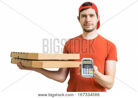 Young Man Is Delivering Pizza In Boxes And Holds Payment Termina