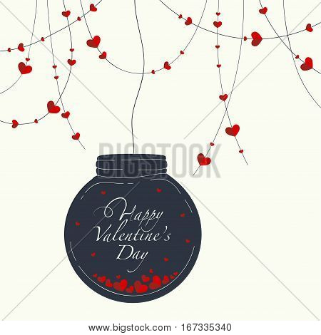 Cover design for the Valentine's Day.Garland with the decorative red hearts and black glass globe with a lots of hearts and the phrase Happy Valentine's day inside on the light beige background.