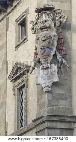 Archbishop's Coat of Arms in Archbishop's Palace. Piazza San Giovanni Florence Italy