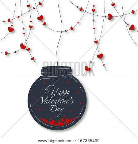 Cover design for the Valentine's Day.Garland with the decorative red hearts and black glass globe with a lots of hearts and the phrase Happy Valentine's day inside on the white background.