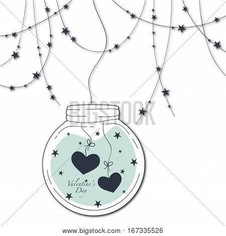 Cover design for the Valentine's Day.Garland with the decorative stars and glass globe with two hearts and the phrase Valentine's day inside on the blue background.