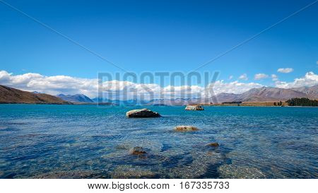 Panoramic Landscape View Of Lake Tekapo And Mountains, New Zealand