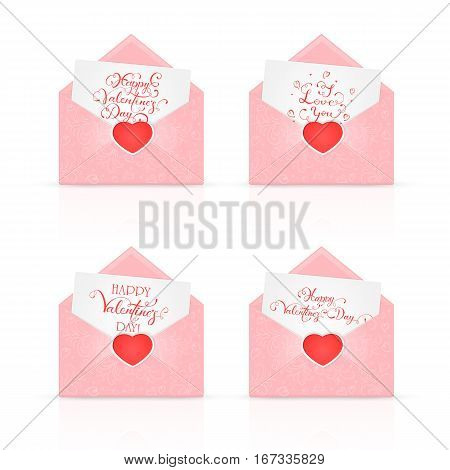 A set of open pink envelopes with red Valentines heart and ornate elements, holiday lettering Happy Valentines Day and I Love You, illustration.