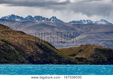 Landscape View Of Mountain Range At Lake Tekapo, New Zealand