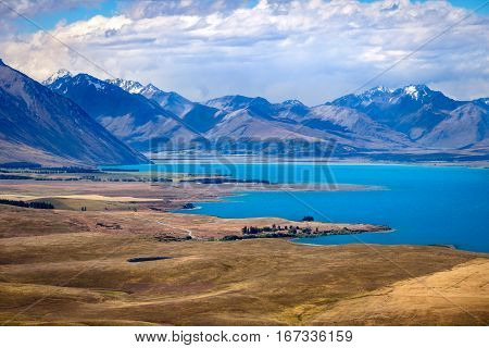 Landscape View Of Lake Tekapo And Mountains From Mt John