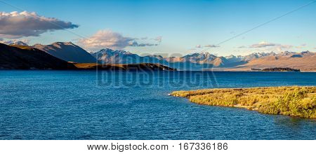 Panoramic View Of Lake Tekapo At Sunset, New Zealand
