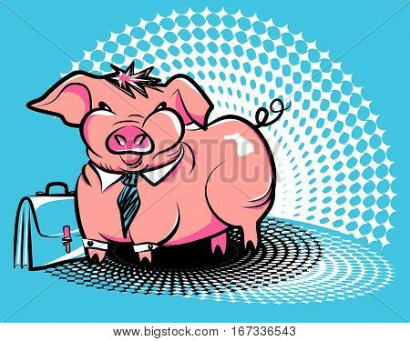 Business smug piggy. Vector illustration of a fat pink pig in a tie with an office briefcase on Ben-Day dots