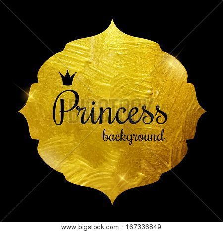 Gold Paint Glittering Textured Princess Crown Frame Vector Illustration. EPS10