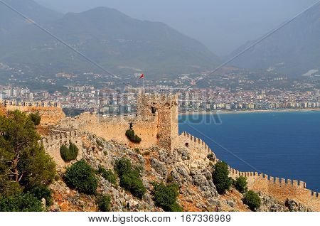 Photo of a red tower in Alanya in Turkey