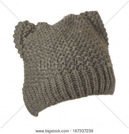 Women's Hat . Knitted Hat Isolated On White Background.gray Hat .