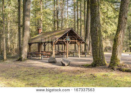 Public park picnic area and trees Washington state parks.