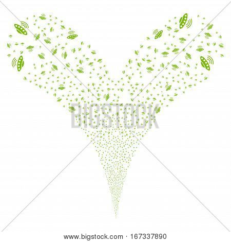 Alien Invasion fireworks stream. Vector illustration style is flat eco green iconic symbols on a white background. Object double fountain made from random symbols.