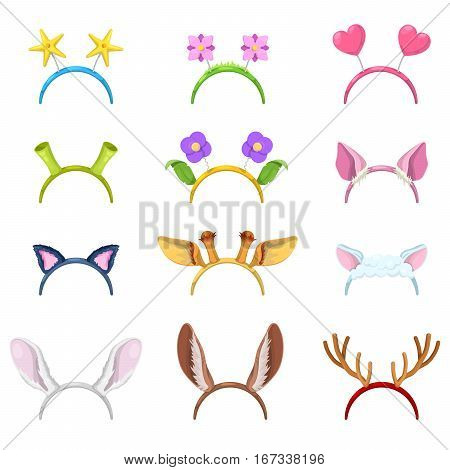 Animals Mask Collection with Isolated Ears of Pig, Cat and Rabbit. Vector illustration