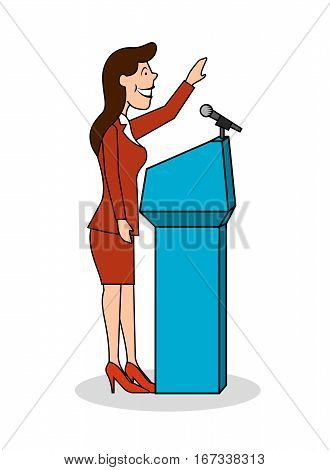 On the image presented Ridiculous caricature the woman the politician at the microphone a vector illustration.