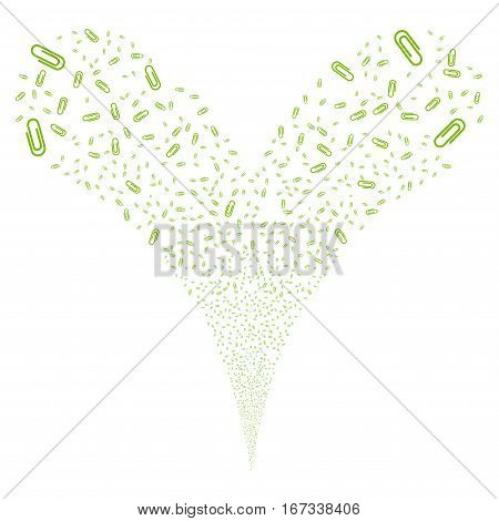 Attach fireworks stream. Vector illustration style is flat eco green iconic symbols on a white background. Object double fountain done from random pictographs.