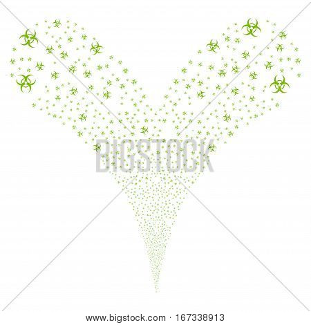 Biohazard fireworks stream. Vector illustration style is flat eco green iconic symbols on a white background. Object double fountain created from random symbols.
