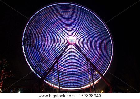 Ferris Wheel at fair in Motion Long Exposure