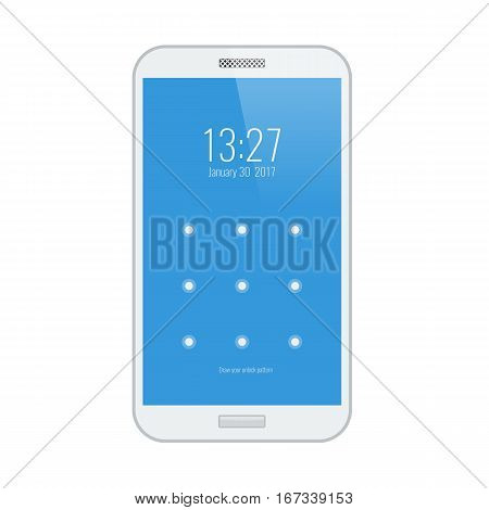 White smartphone. Modern user interface with a screen lock. Vector illustration.