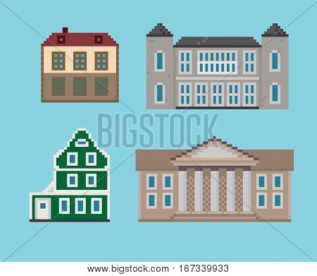 Set of Vector Various Historical Pixel Houses
