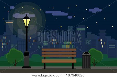 Flat Night Cityscape With Park And Bench