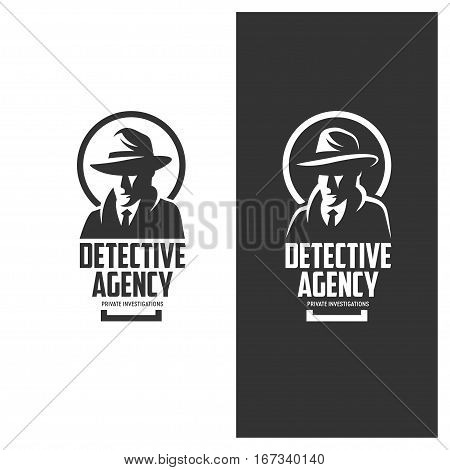 Detective agency emblem with abstract man head in hat. Design elements for labels, logos, badges. Vintage vector illustration.