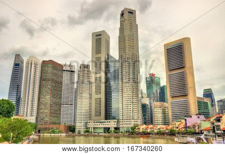 Skyscrapers of Singapore Central Business District over the river