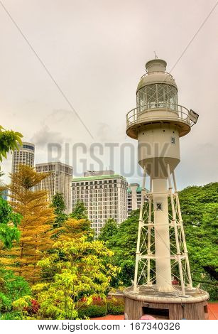 Fort Canning Lighthouse on Fort Canning Hill in Singapore