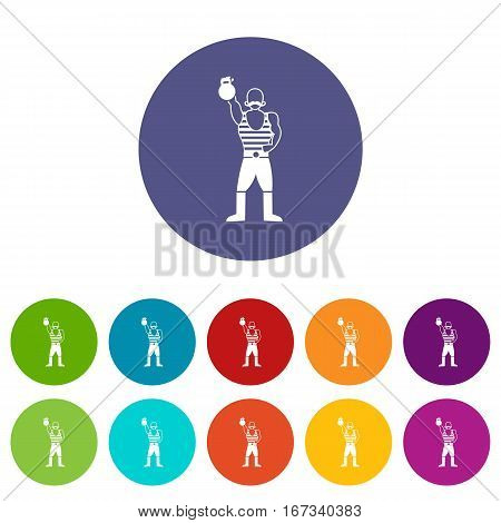 Strong man with kettlebell set icons in different colors isolated on white background