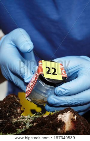 Sealing of bottle with fly larva on crime scene by criminologist