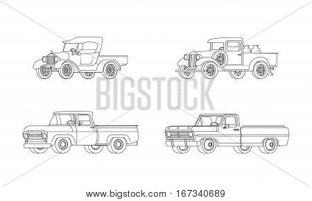 Pickup truck classic design models collection in outline style on white background isolated vector illustration