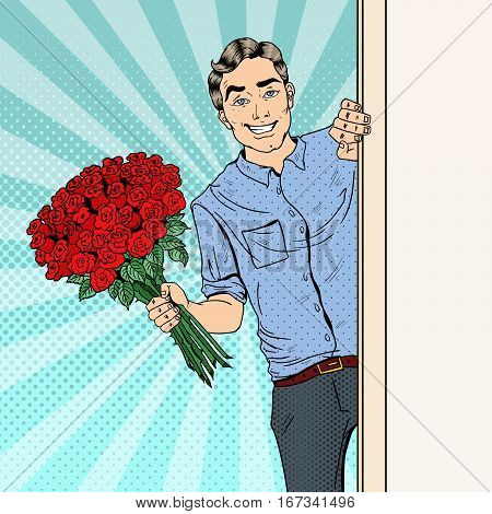 Pop Art Handsome Man with Flowers Bouquet Roses. Vector illustration