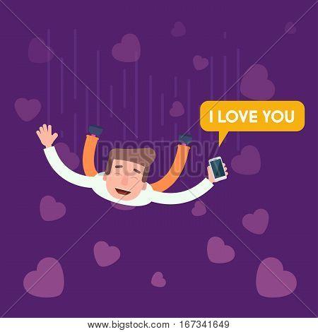 On the seventh heaven. Flies love people. phone, messange. Flat Vector