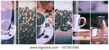 Hot coffee. Coffee grinder, turk and cup of hot coffee with coffee beans and saucer on a brown table. Dark background.