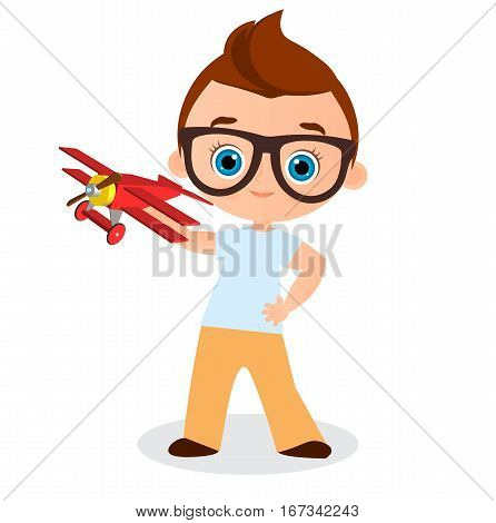 Young Boy With Glasses And Toy Plane. Boy Playing With Airplane. Vector Illustration Eps 10 Isolated