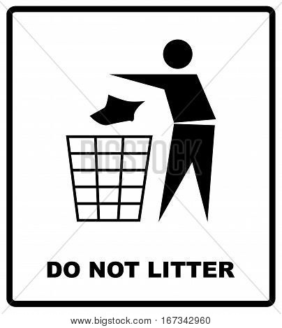 no littering sign vector illustration do not litter prohibition sticker for public places in red circle. vector illustration