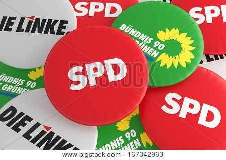 BERLIN GERMANY - JANUARY 29 2017: German Politics Coalition Concept: Pile of Buttons With The Logo of The Political Parties SPD The Greens The Left 3d illustration