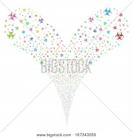 Biohazard fireworks stream. Vector illustration style is flat bright multicolored iconic symbols on a white background. Object double fountain made from random design elements.