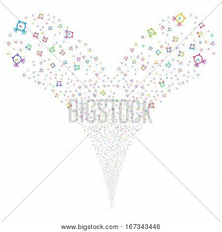 Buzzer fireworks stream. Vector illustration style is flat bright multicolored iconic symbols on a white background. Object double fountain created from random pictographs.