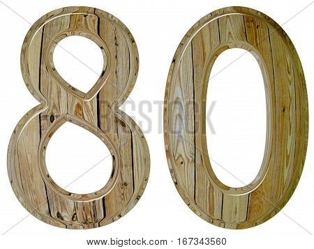 Numeral 80, Eighty, Isolated On White Background, 3D Render