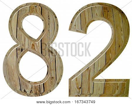 Numeral 82, Eighty Two, Isolated On White Background, 3D Render