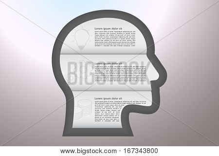 3 steps business infographics with outline icons in origami style with shadows in shape of head embossed to grey gradient surface. Three steps head shape timeline infographic.