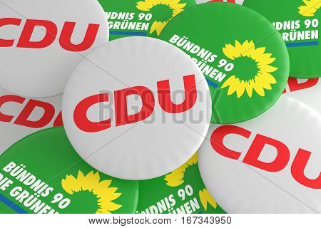 BERLIN GERMANY - JANUARY 29 2017: German Politics Coalition Concept: Pile of Buttons With The Logo of The Political Parties CDU And The Greens 3d illustration
