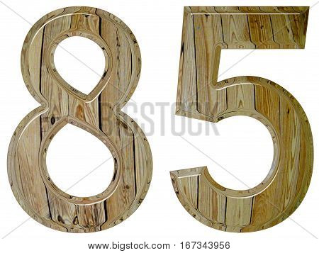 Numeral 85, Eighty Five Isolated On White Background, 3D Render