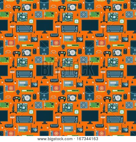 Computer parts seamless pattern illustration. Device hdd series background. Network motherboard mobile devices connections vector technology wireless communication.