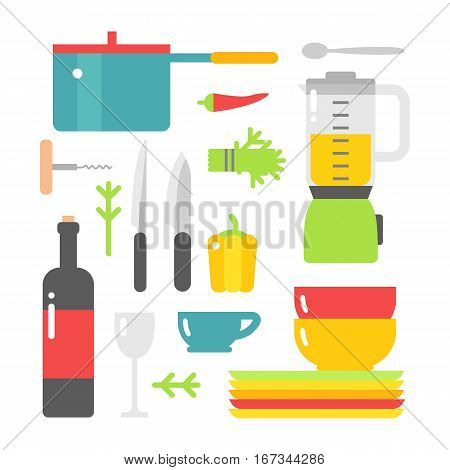Kitchen dishes vector flat icons isolated on white background. Everyday dishes furniture collection. Seasoning art dining style household spoon equipment.